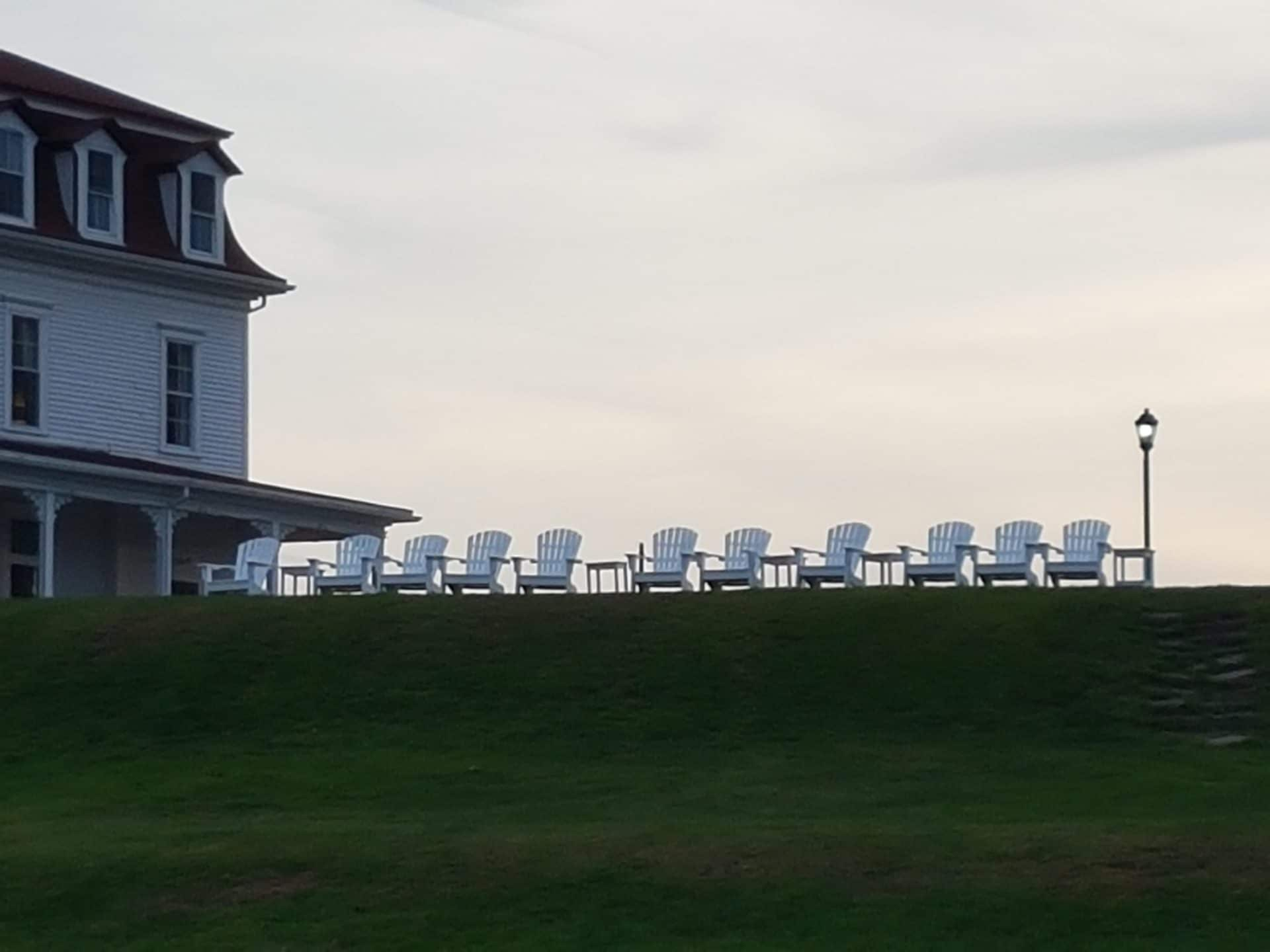 Adirondack chairs facing the sea at the Spring House hotel, in continuous operation since 1855. At times, walking around the island in the off-season felt like stepping into an Edward Hopper painting. Photo courtesy of Dan Drollette Jr.