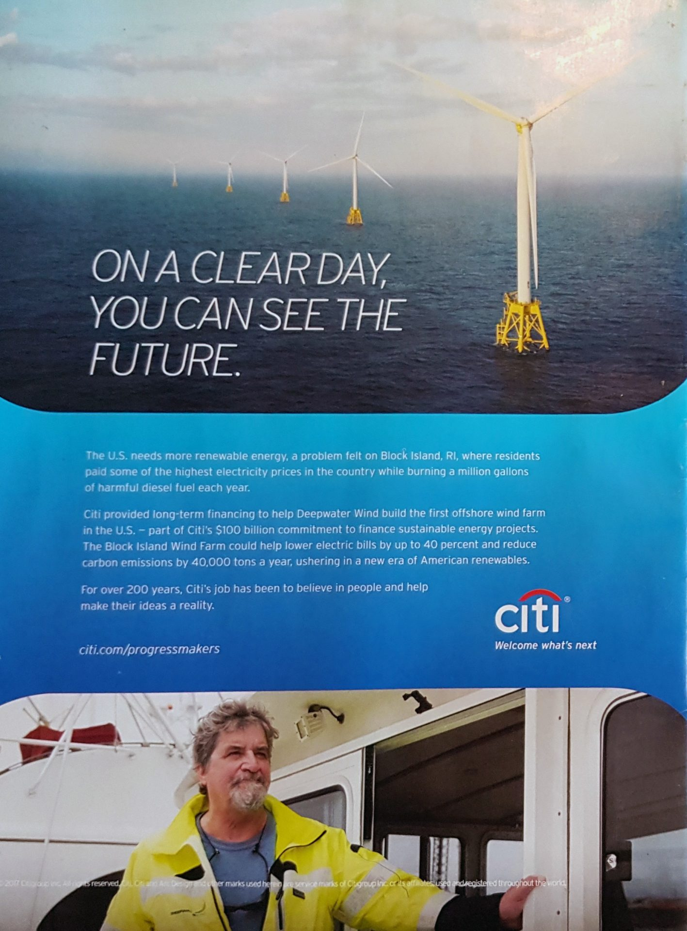 Bryan Wilson was the face of a Citi print ad campaign for the windfarm