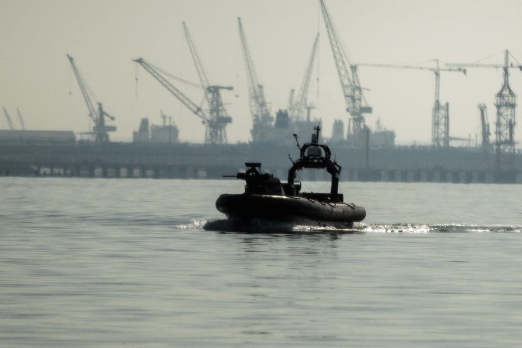 An unmanned British Royal Navy vessel patrols a harbor near Troia, Portugal, during a NATO exercise. Credit: NATO.