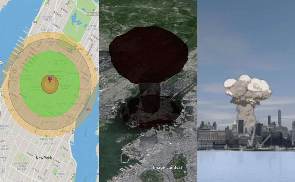 Screenshots showing the two-dimensional, three-dimensional, and virtual reality versions of NUKEMAP.
