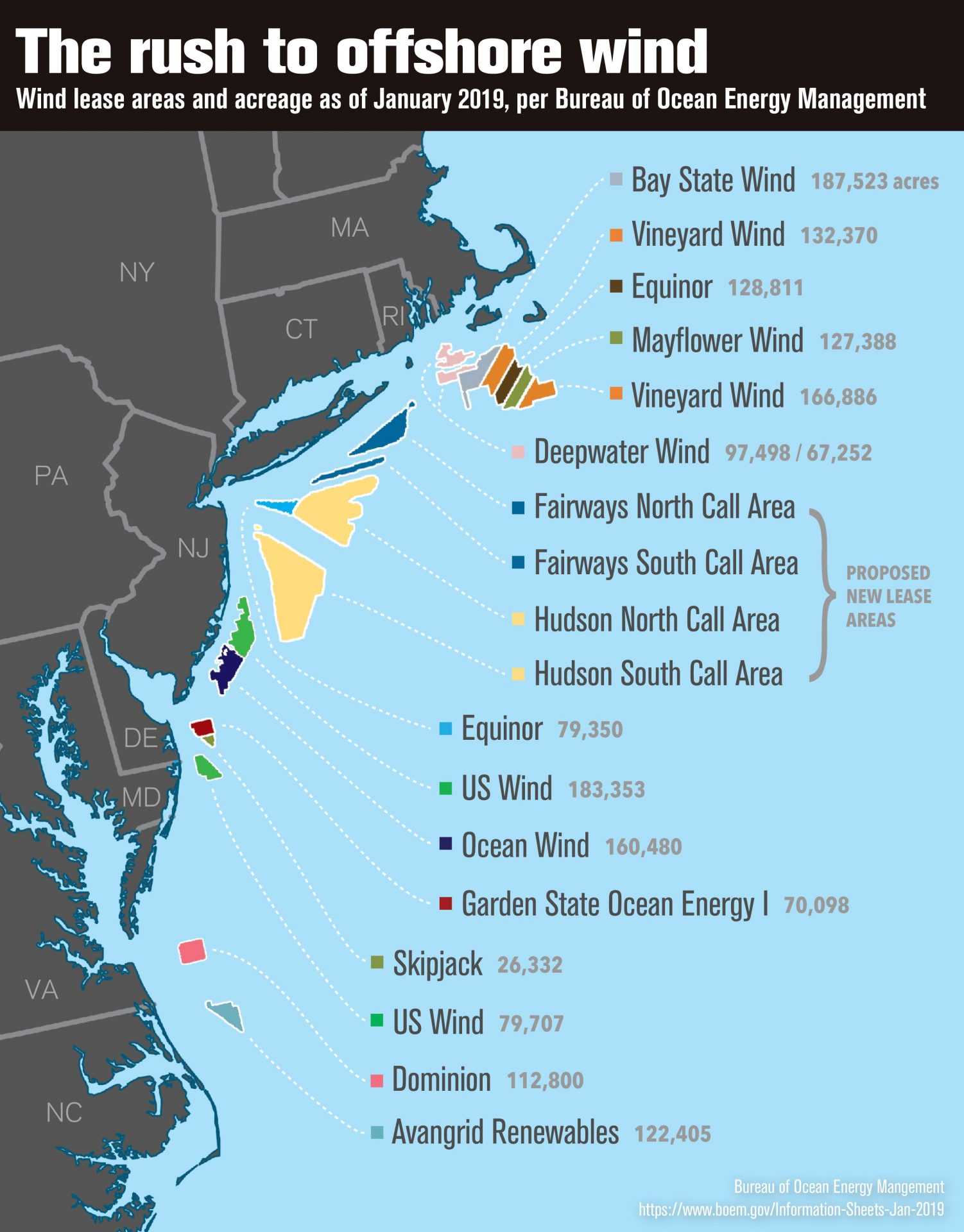 A map of offshore wind leases as of January 2019, with acreage secured by each operator. Thomas Gaulkin / BOEM