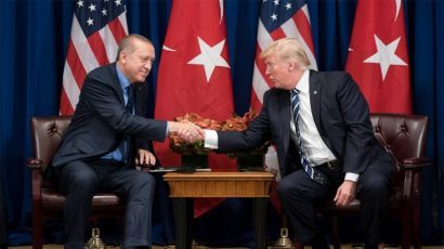 Erdogan and Trump shake hands