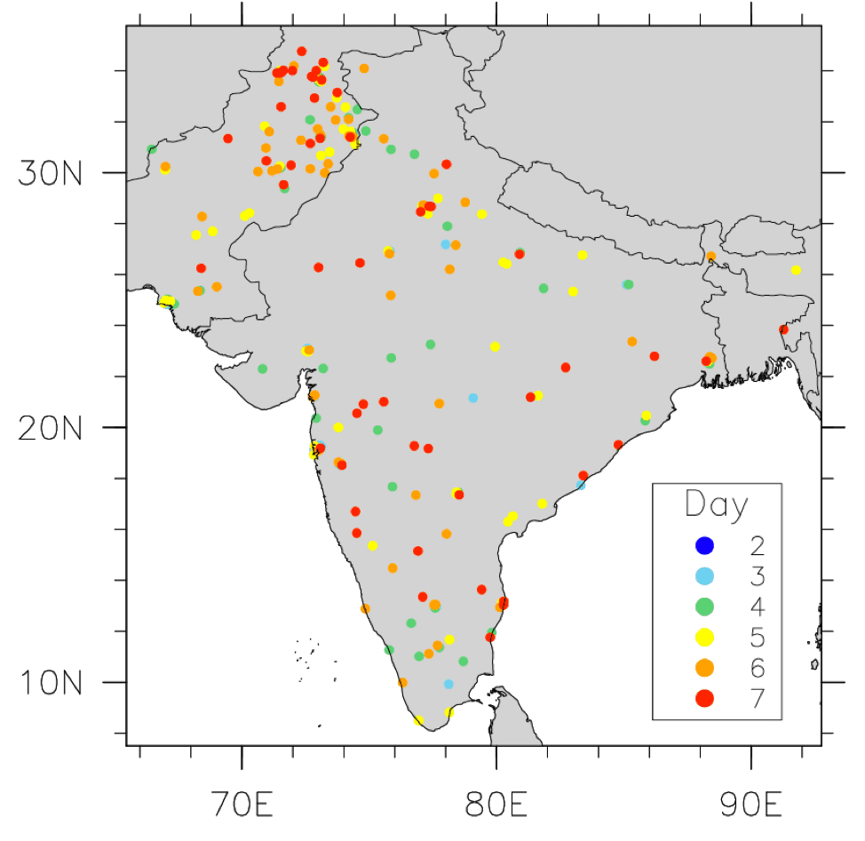 A map showing nuclear strikes during an India-Pakistan war scenario