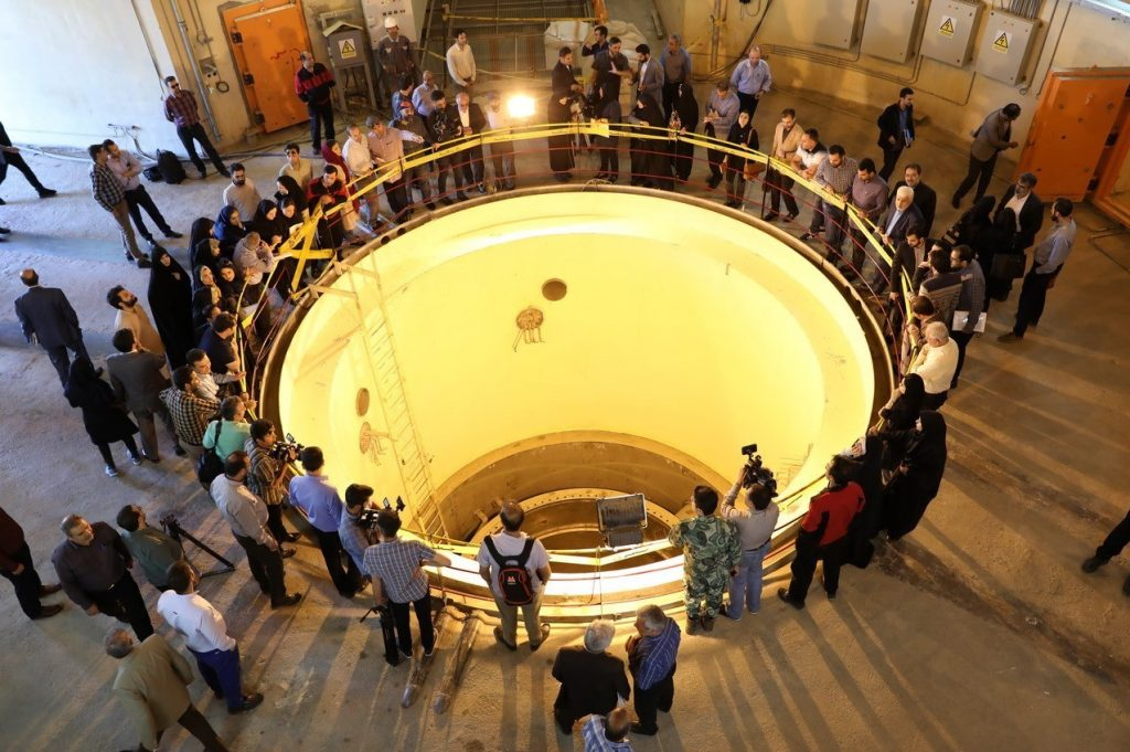 Members of the press visit the Arak reactor.