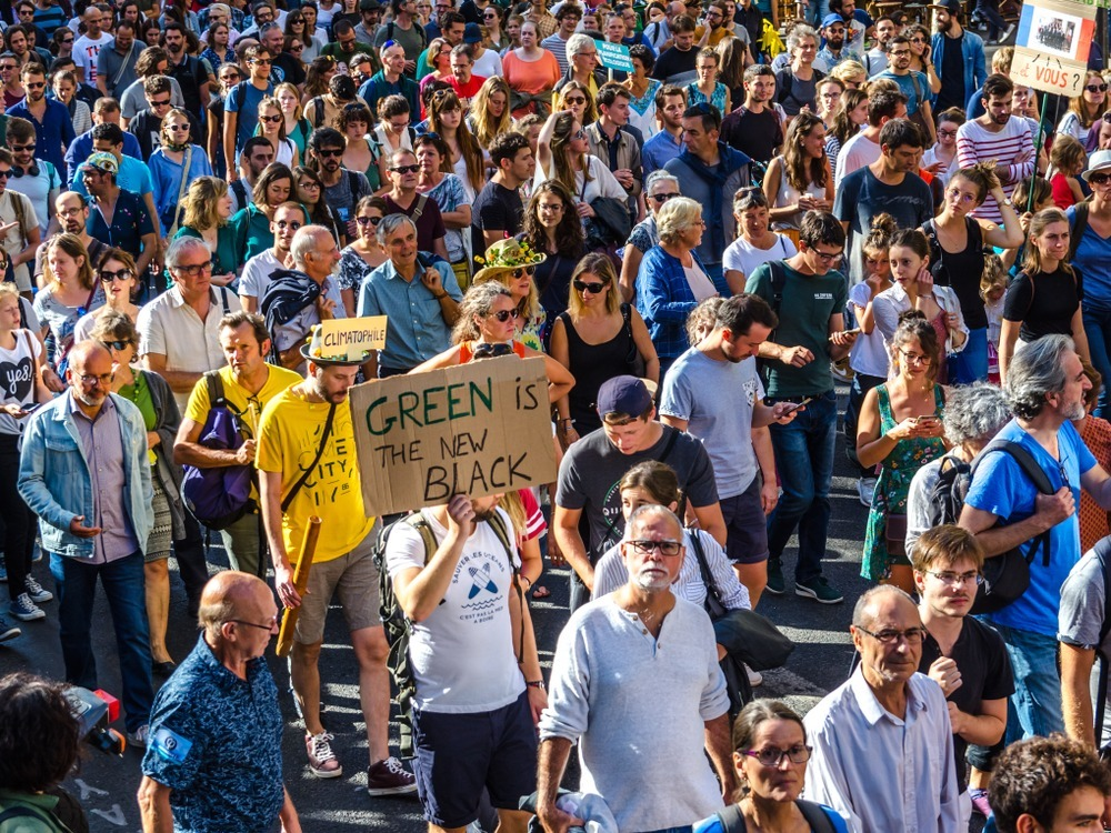 people on street marching with climate change signs