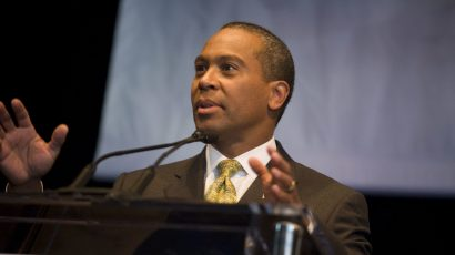 Deval Patrick speaking in Denver in 2008.