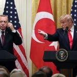 US President Donald Trump and Turkish President Recep Tayyip Erdogan in a joint news conference at the White House this week. (Photo by Mark Wilson/Getty Images)