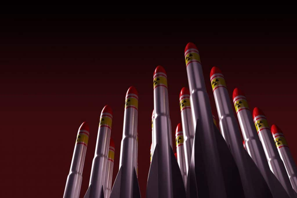 artist's rendition of rows of nuclear missiles