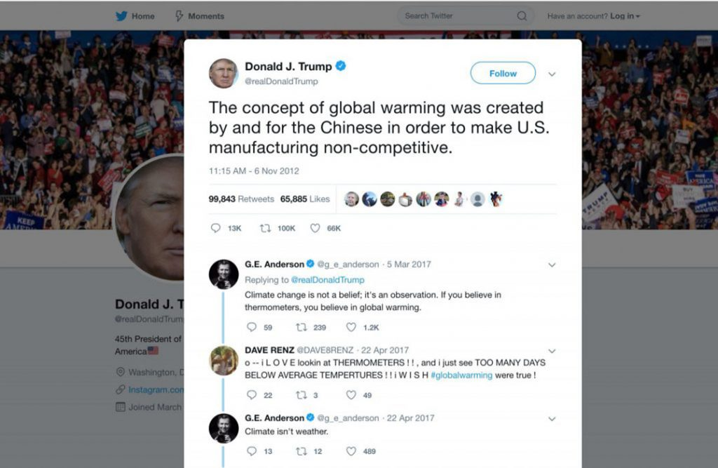 Trump tweet about global warming