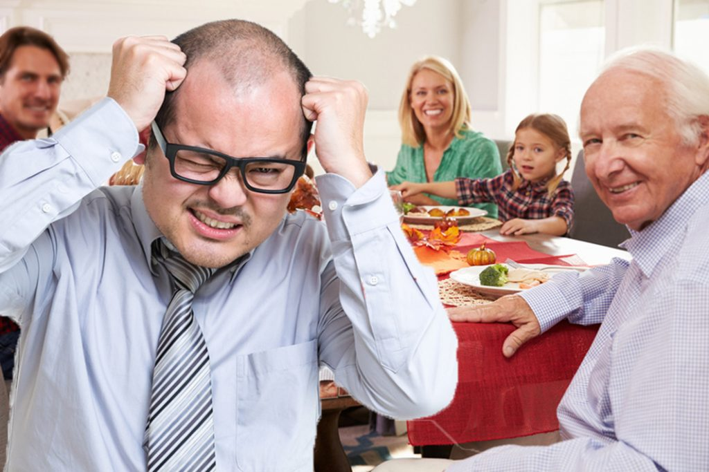 tearing hair out at meal with climate change-denier