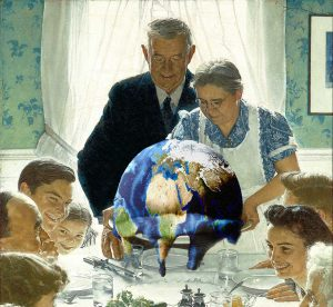 Thanksgiving table with melting globe instead of turkey