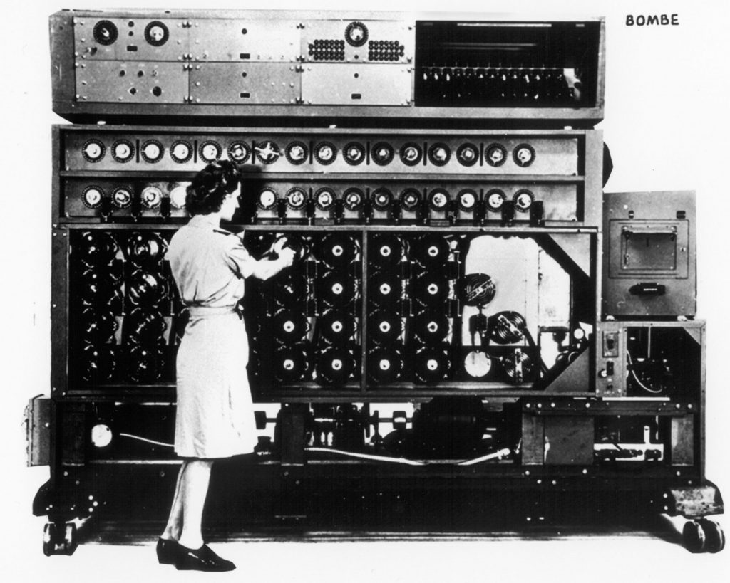By the end of 1943, the US Navy had installed 120 electromechanical Bombe machines like the one above, which were used to decipher secret messages encrypted by German Enigma machines, including messages from German U-boats. Built for the Navy by the Dayton company National Cash Register, the US Bombe was an improved version of the British Bombe, which was itself based on a Polish design. Credit: National Security Agency