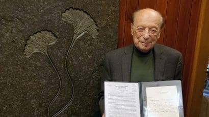 Dr Dieter Gruen with nomination letter