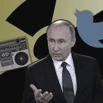 Putin, a radio, and the Twitter logo against a nuclear-symbol background.
