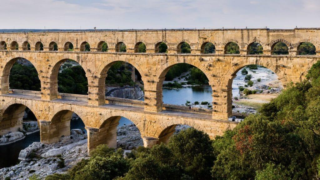 A Roman aqueduct.