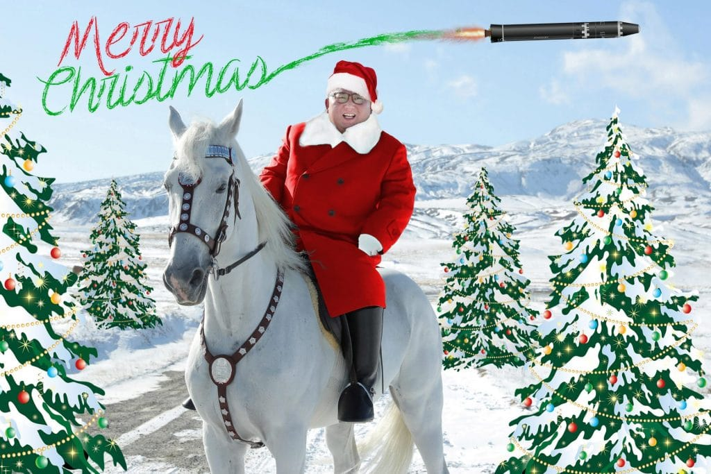 christmas illustration of north korea kim jong-un on horse as santa claus with nuclear missile