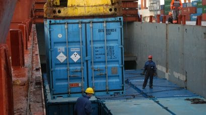 Shipping container with radioactive material