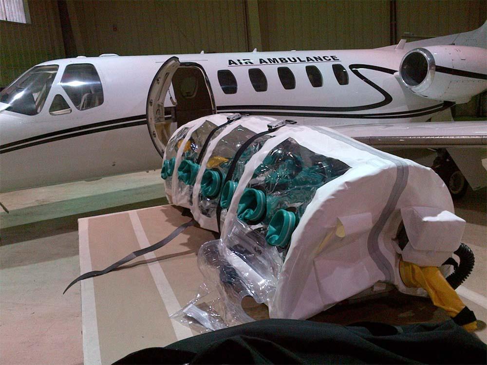 An ISOPOD patient transport device.