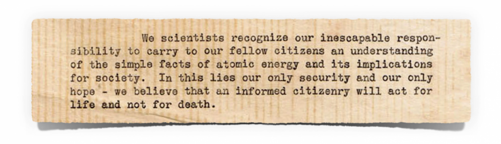 Excerpt from Albert Einstein letter, Emergency Committee of Atomic Scientists, December 1946