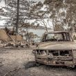 burnt-out car and scorched land