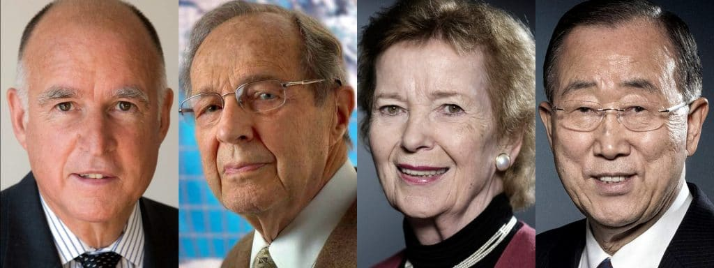 Jerry Brown William Perry Mary Robinson Ban Ki-moon Doomsday Clock 2020