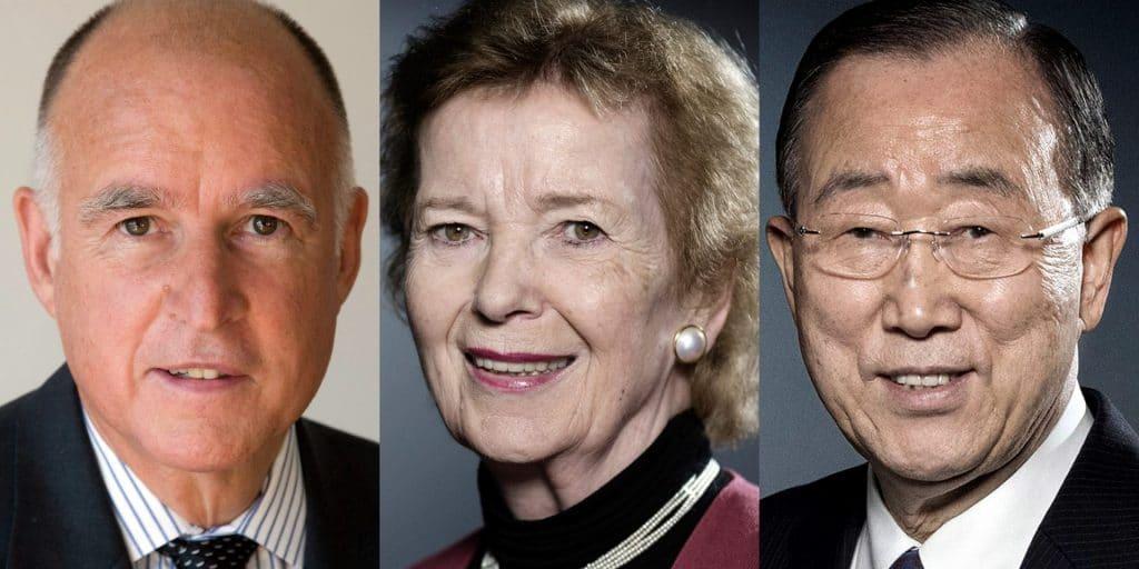 Jerry Brown Mary Robinson Ban Ki-Moon Doomsday Clock