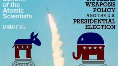 January 2020 Bulletin Atomic Scientists magazine cover president democrat republican nuclear policy debate