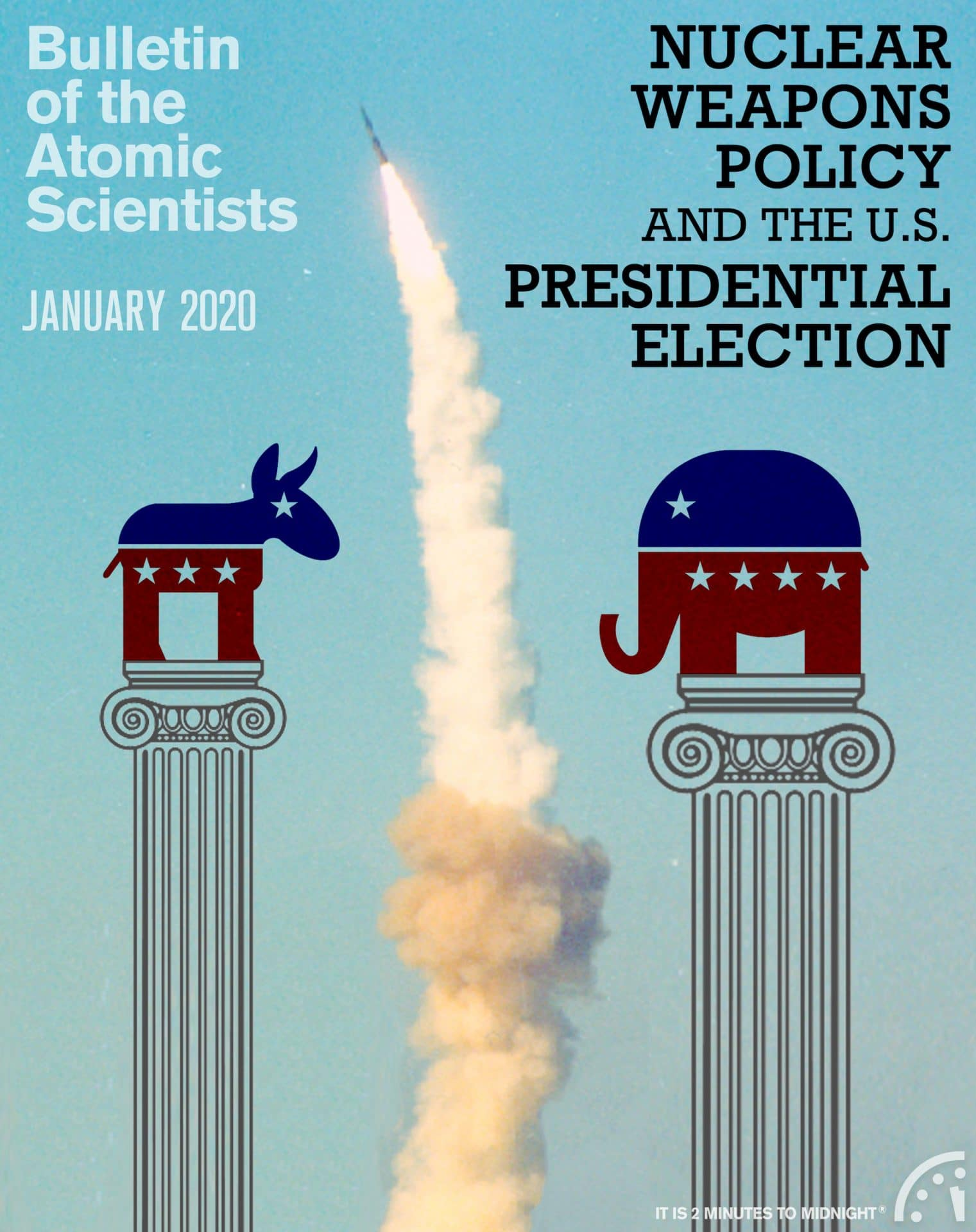 January 2020 bulletin of the atomic scientists magazine cover nuclear weapons united states president election