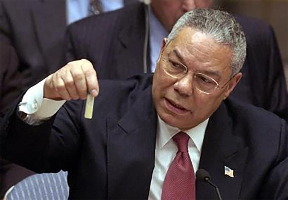 Former US Secretary of State Colin Powell at the United Nations.