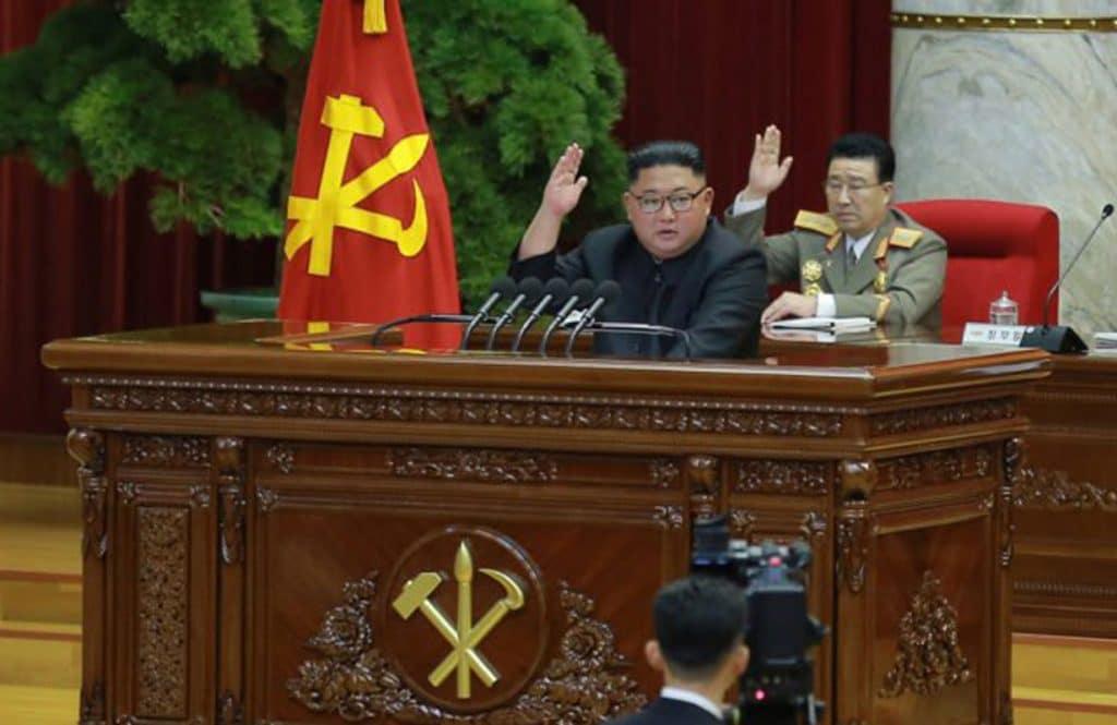 Kim Jong Un, giving his plenary speech. Photo credit: KCNA