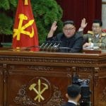 Kim Jong Un, giving his plenary speech. Photo credit: KCNA