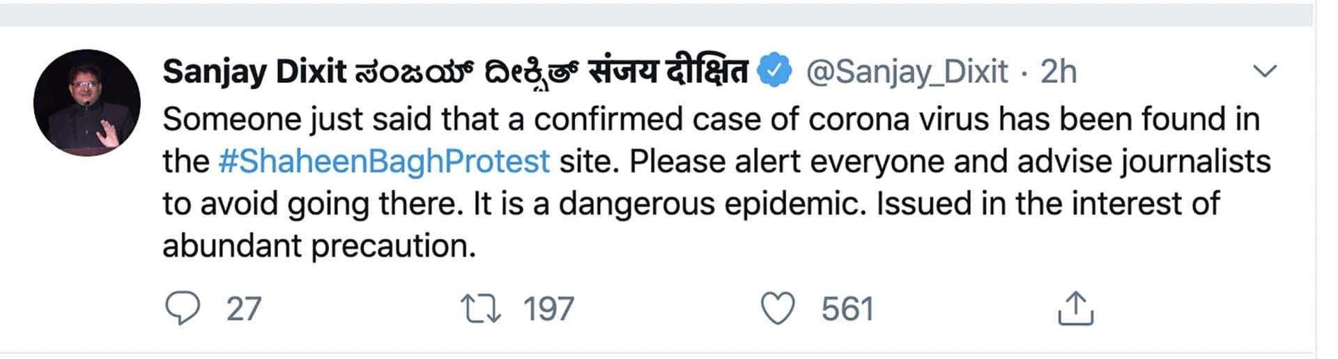A tweet spreading coronavirus-related disinformation.