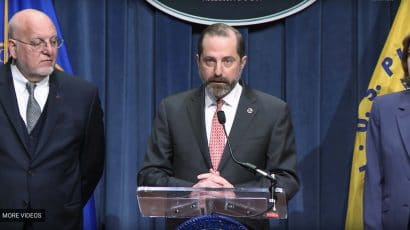 Health and Human Services Sec. Alex Azar at a press briefing.