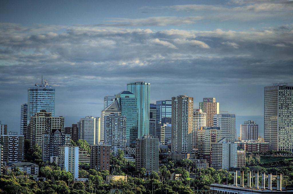 Edmonton, Alberta skyline at dusk