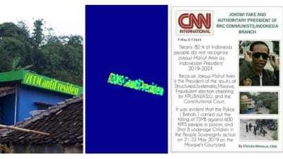 Examples of composite images designed to be used in disinformation campaigns. Left and Center: This anti-Widodo hashtag was added to the building through the use of a digital image-editing tool. The modification was detected by an algorithm that searches images for inconsistencies in the statistics of their pixels. Right: The CNN International logo has been added to a false news story about Widodo.