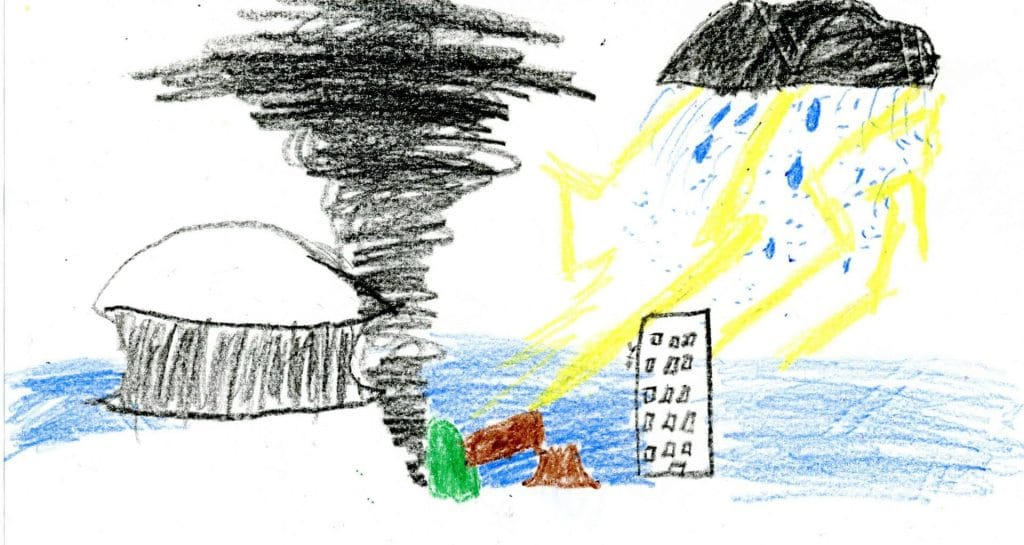 """What Katrina Looked Like,"" by Joseph, 10-years-old. Credit: Alice Fothergill and Lori Peek from <em>Children of Katrina</em>, 2015"