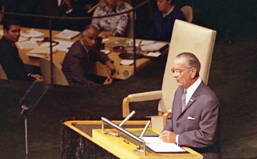 Lyndon Johnson addresses the UN General Assembly, 1968.