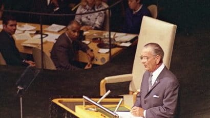 Lyndon Johnson addresses the UN General Assembly, 1968.
