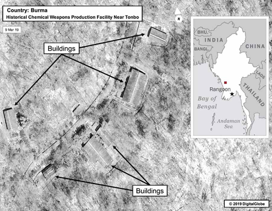 A US State Department image showing the location of the Myanmar's alleged chemical weapons factory.