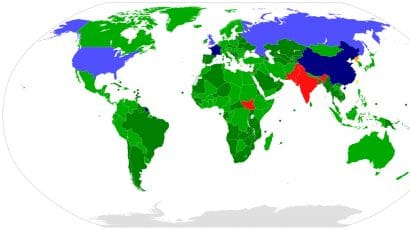 Participation in the Nuclear Non-Proliferation Treaty. Countries in red or orange are non-members.