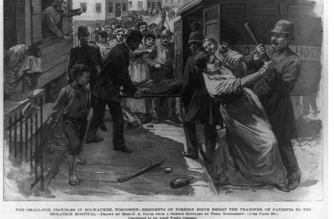 A riot during a smallpox outbreak in Milwaukee in 1894.