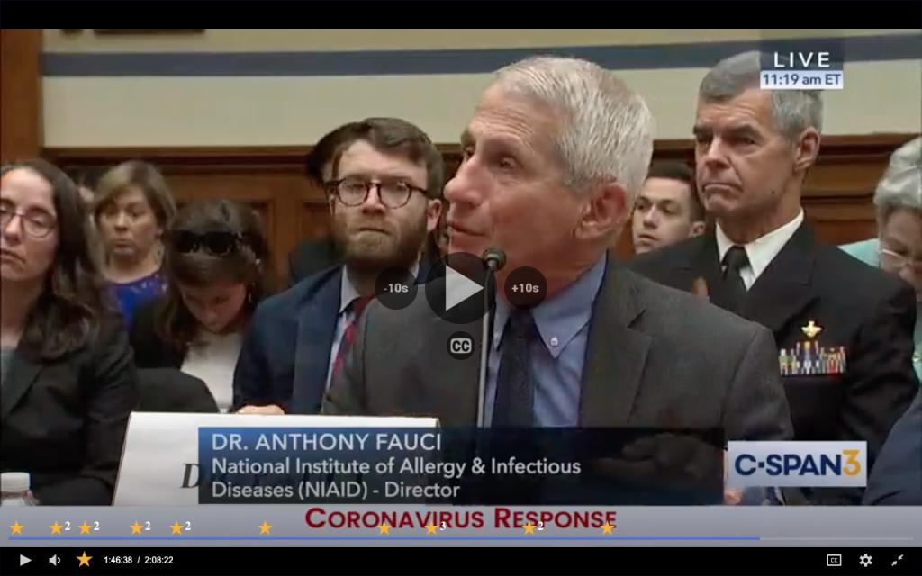 Anthony Fauci testifying about coronavirus