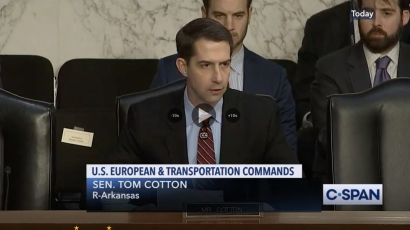 Sen. Tom Cotton at a congressional hearing.