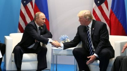 Vladimir Putin and Donald Trump at a 2017 G20 meeting in Hamburg.
