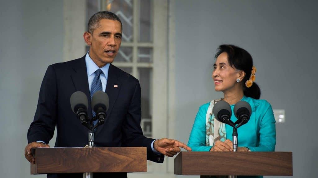 US President Barack Obama and Aung San Suu Kyi.