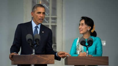 US President Barack Obama and Aung San Suu Kyi.