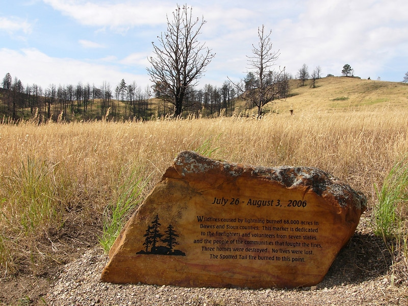 A marker tells the story of the 2006 Spotted Tail Fire