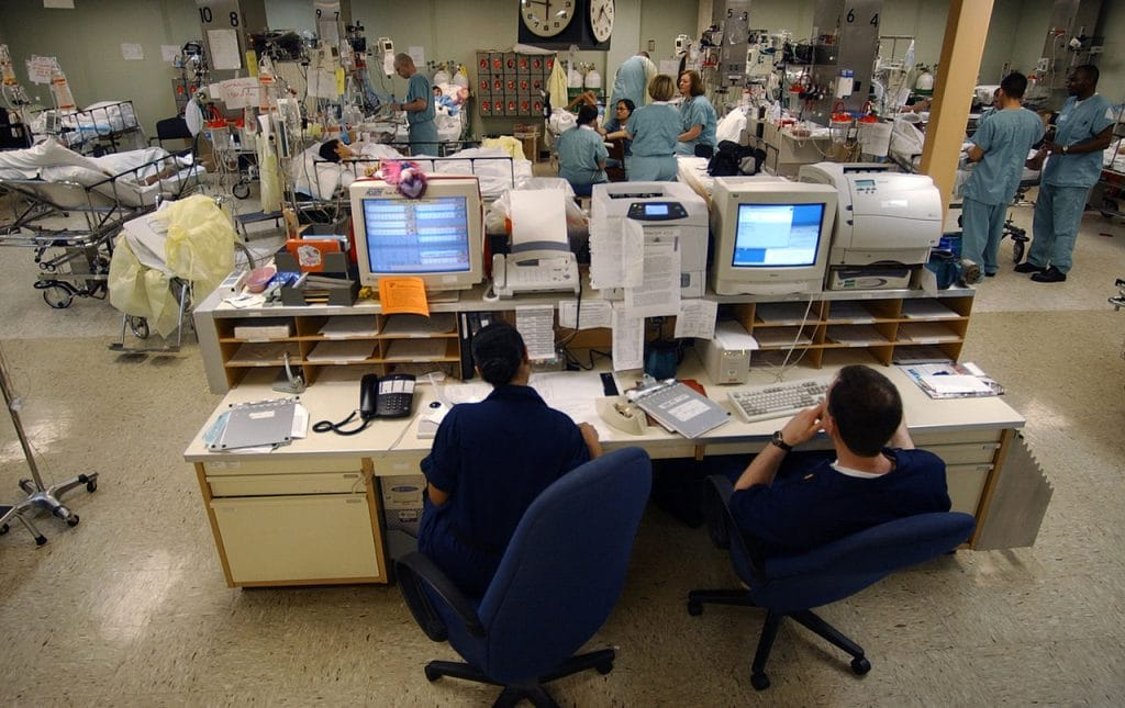 A central computer system monitors the heart rates of each patient in the Intensive Care Unit (ICU) aboard the USNS Comfort, one of two hospital ships operated by Military Sealift Command. (US Navy photo)