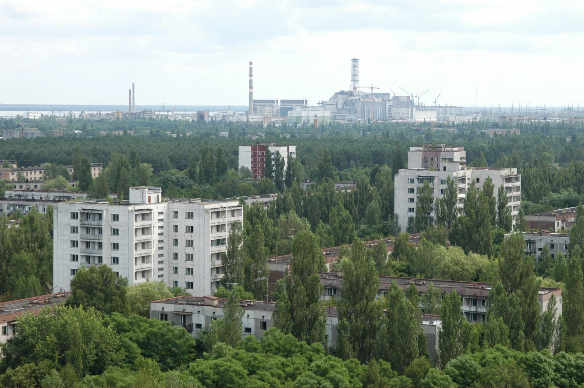 The town of Pripyat, three kilometers from the Chernobyl Nuclear Power Plant, was abandoned after the April 1986 nuclear disaster.