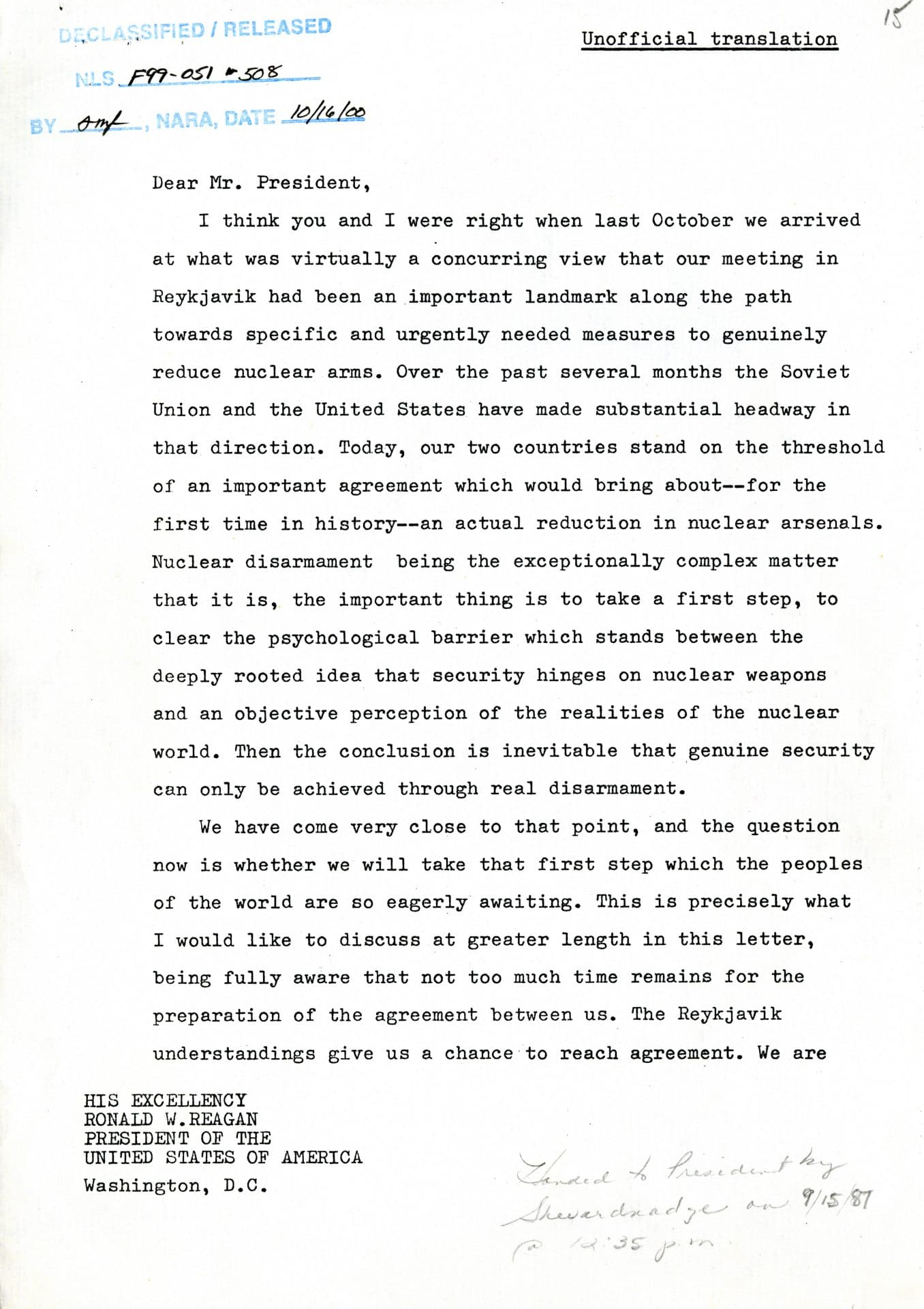 Excerpts of May 1986 Reagan Letter from Gorbachev / courtesy of the Ronald Reagan Library